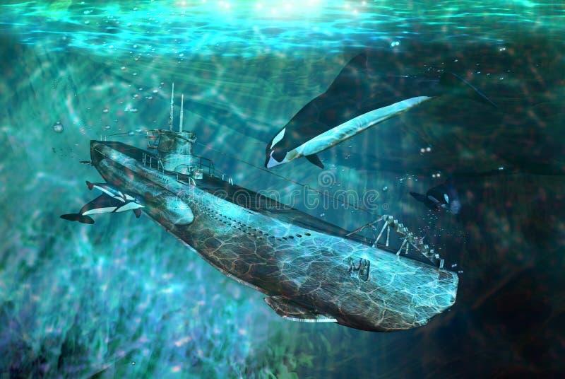 Orcas e submarino ilustração stock