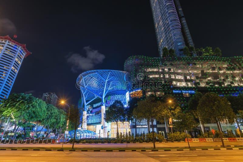 Singapore night city skyline at ION Orchard stock image