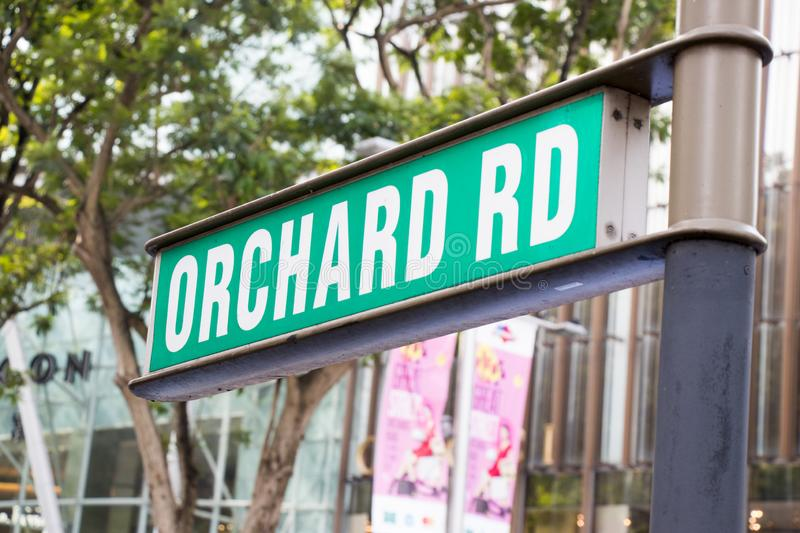 Orchard road, Singapore : May 7, 2017 : Orchard rd sign in Singapore which have the famous shopping center in this street royalty free stock photos