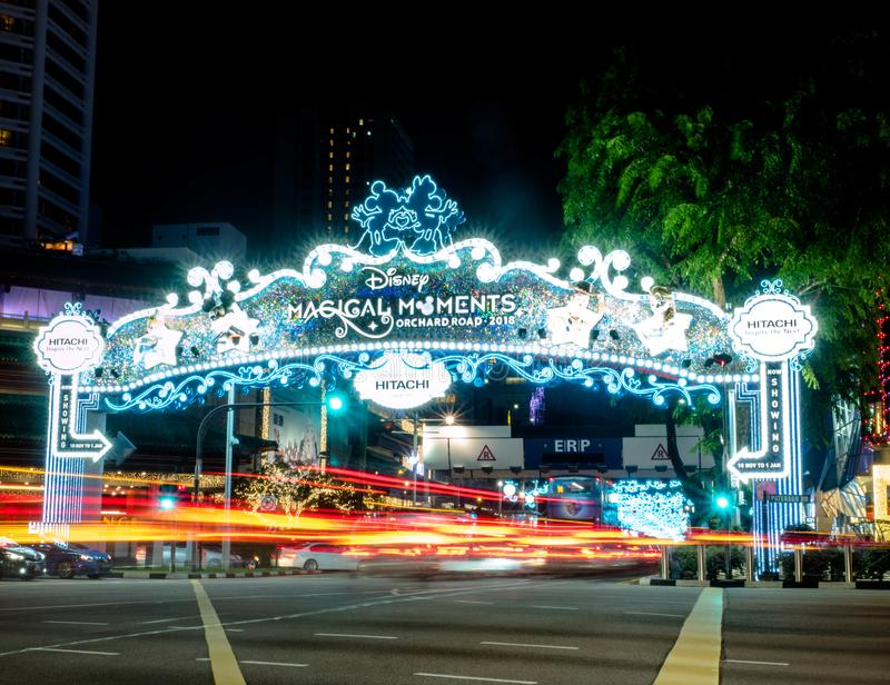 Orchard Road, Singapore - Nov 23, 2018: Christmas Festival, Disney Theme Celebration, Orchard Road the main shopping district in stock photography