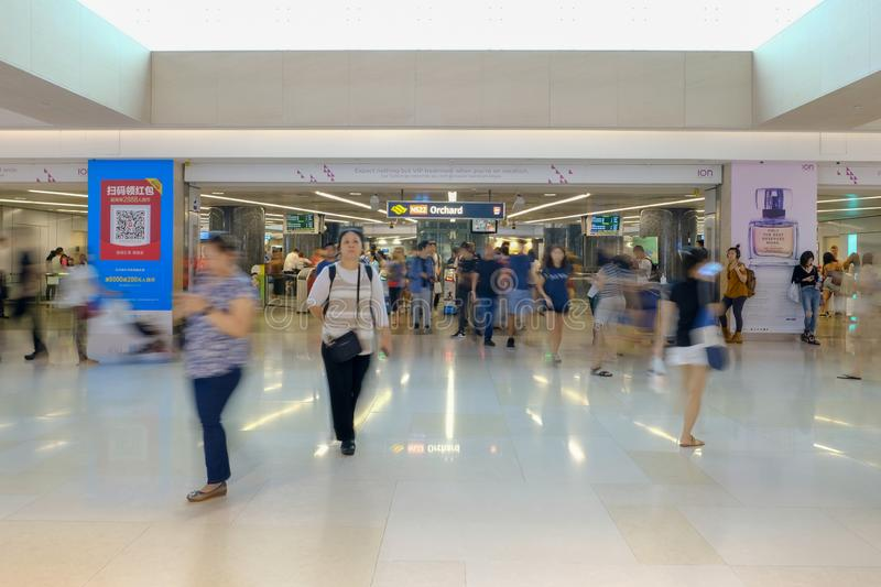 Orchard, Singapore March 9, 2019 : Activities in front of Orchard MRT with blurred movement people royalty free stock image