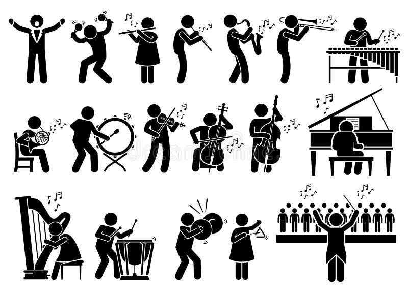 Orchester-Symphonie-Musiker mit Musikinstrumenten Clipart lizenzfreie abbildung