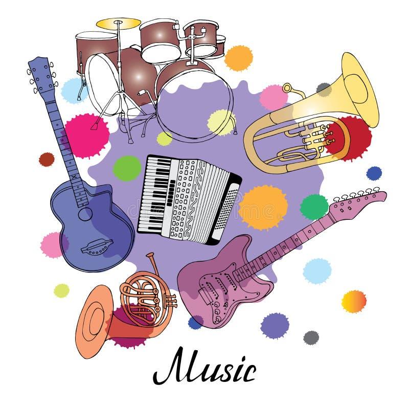 Orchesterhorn, Tuba, Gitarre, Trommeln, Tuba, Akkordeon auf farbigen Stellen lizenzfreie abbildung