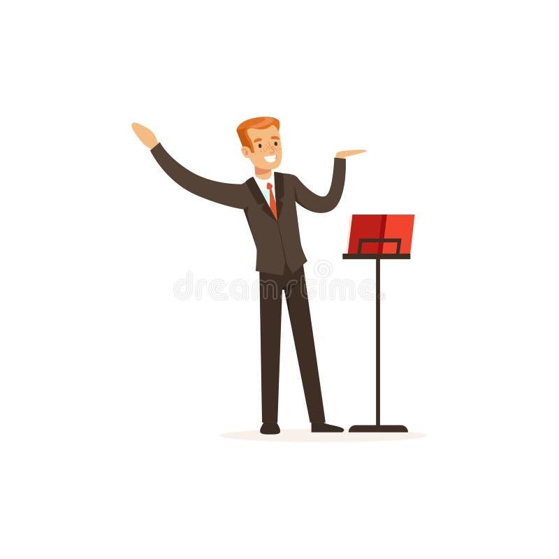Orchesterleiter, der musikalische Leistung verweist vektor abbildung