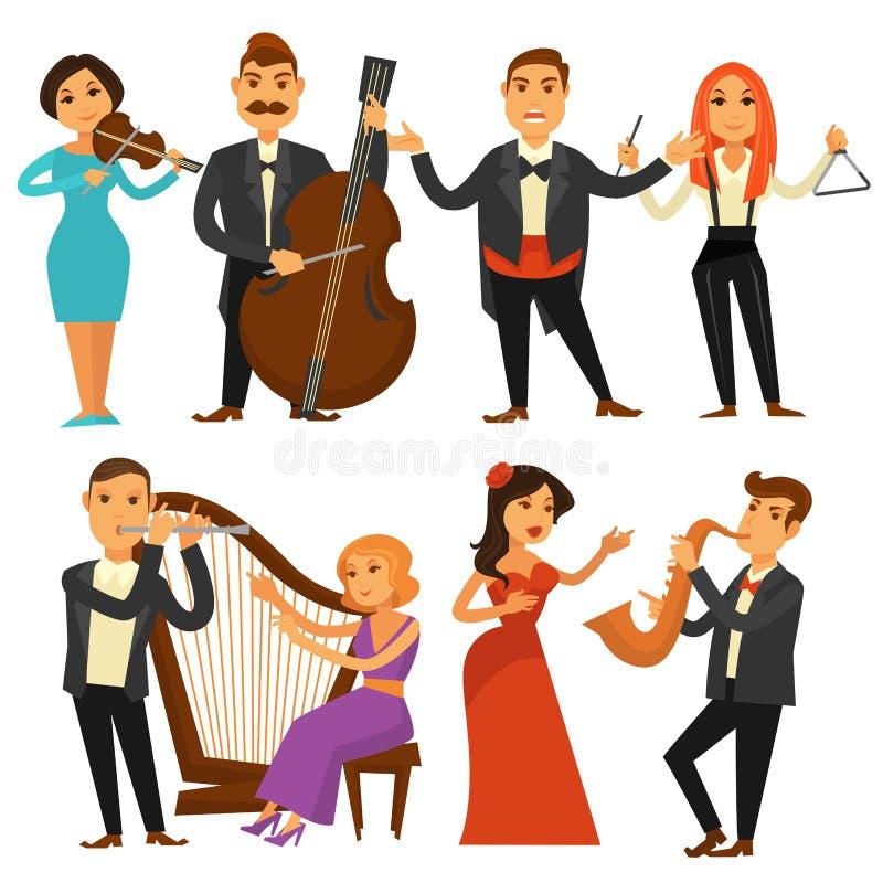 Orchestersänger und Musikinstrumente der Musiker oder der Musikausführenden vector flache Ikonen vektor abbildung