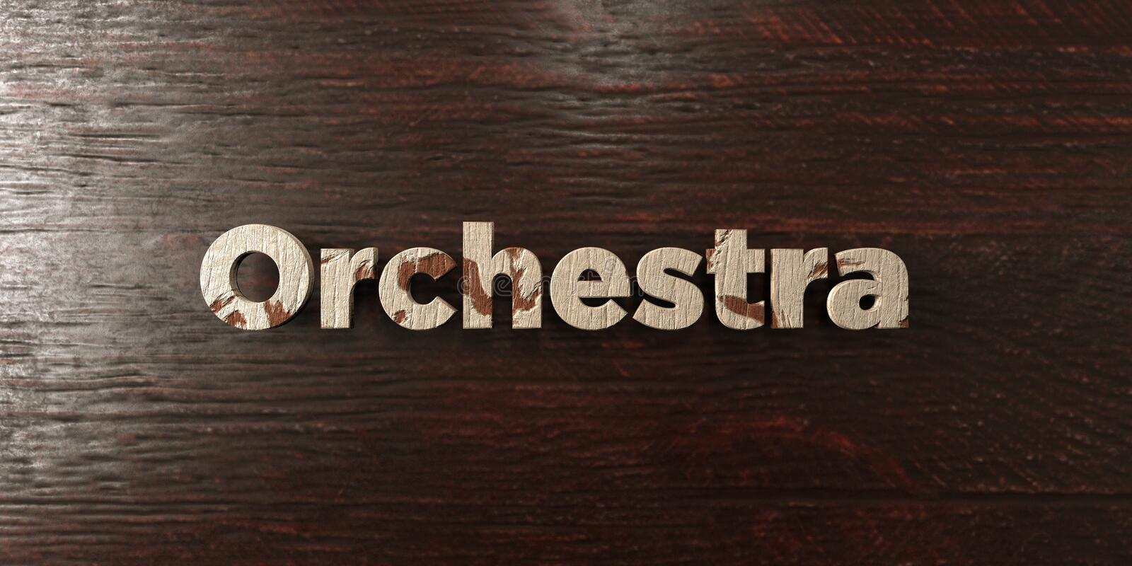Orchestra - grungy wooden headline on Maple - 3D rendered royalty free stock image. This image can be used for an online website banner ad or a print postcard royalty free illustration