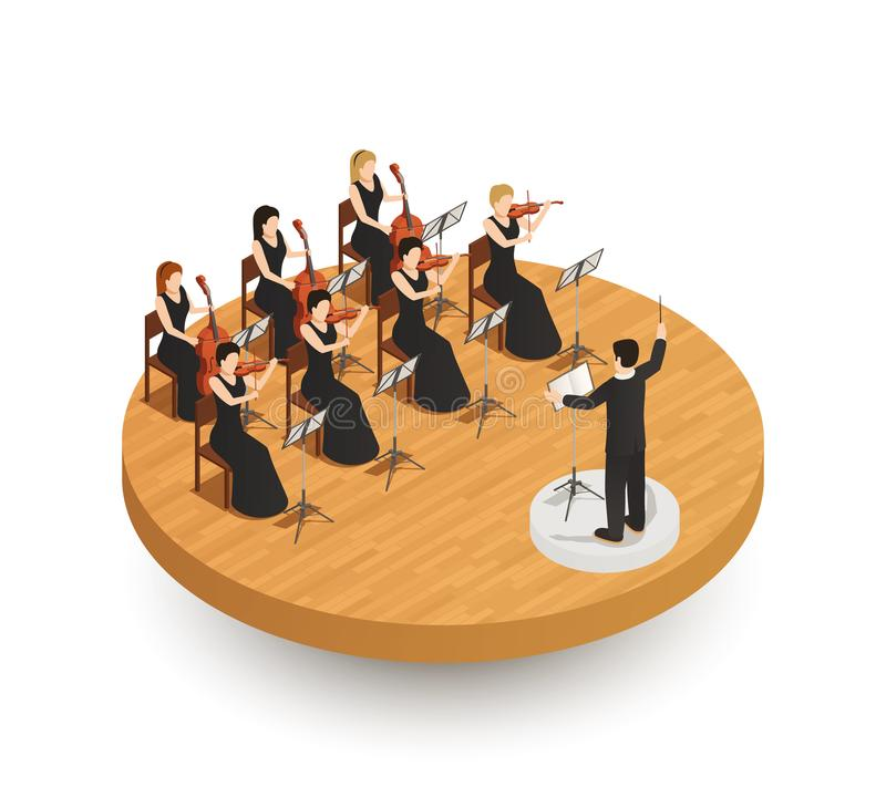 Orchestra Isometric Composition royalty free illustration