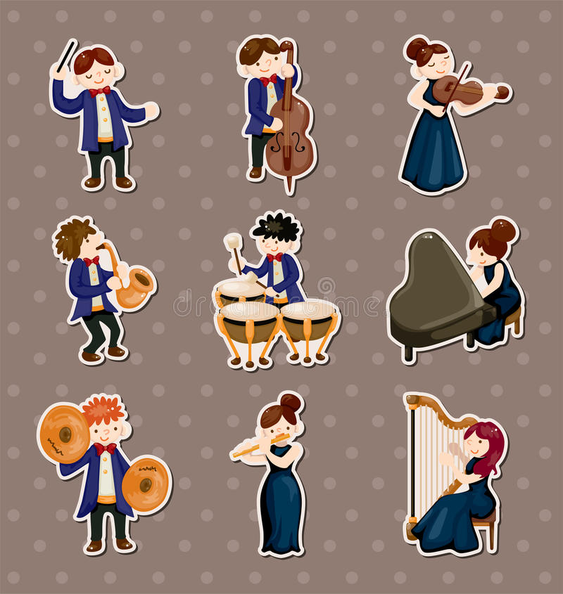 Orchestra music player stickers vector illustration