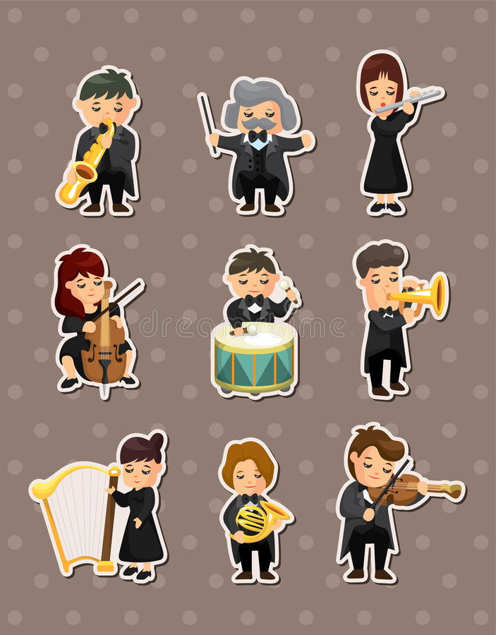 Orchestra music player stickers royalty free illustration