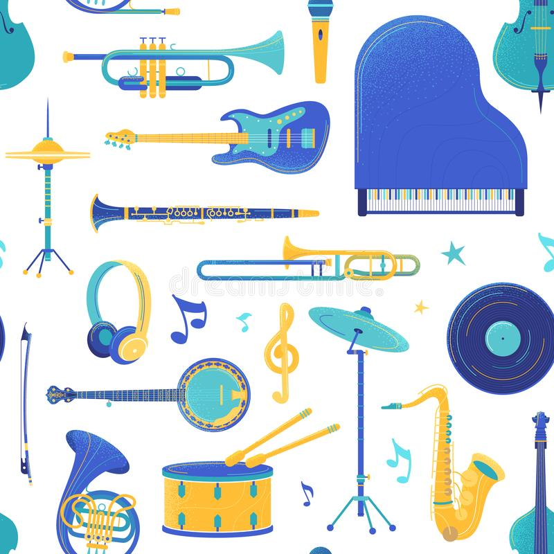 Orchestra musical instruments vector seamless pattern royalty free illustration