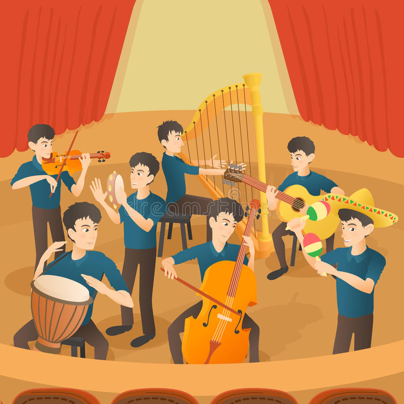 Orchestra musicians figures concept, cartoon style royalty free illustration