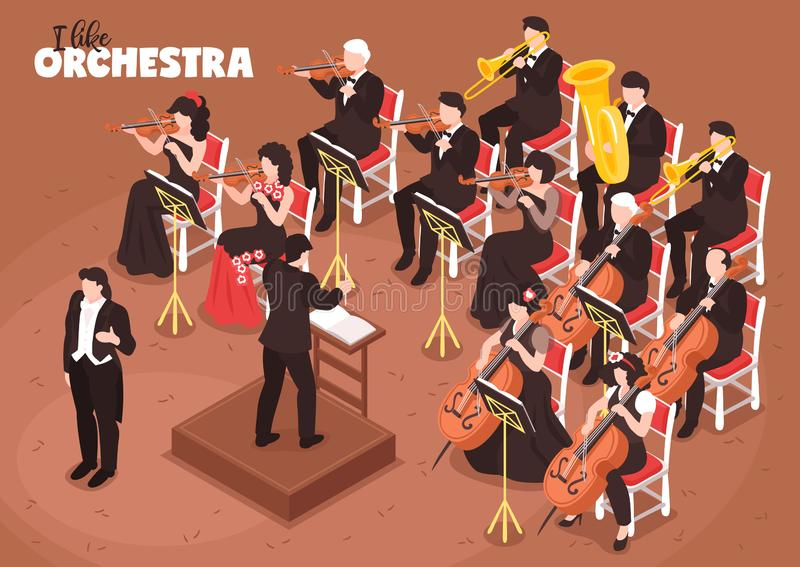 Orchestra Musicians Isometric Composition vector illustration