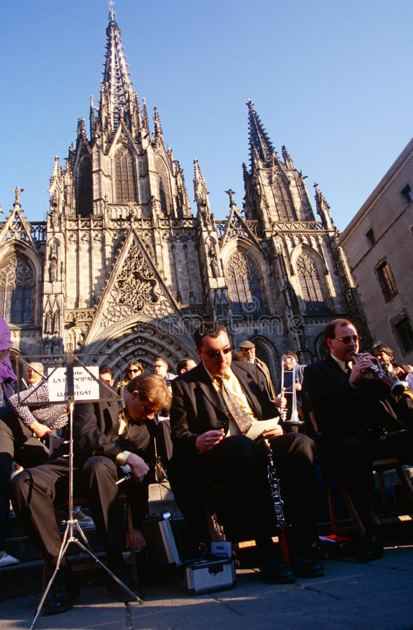 An orchestra outside the Cathedral Santa Eulalia. An orchestra performing outside the Cathedral of Santa Eulalia in Barcelona, Spain royalty free stock image
