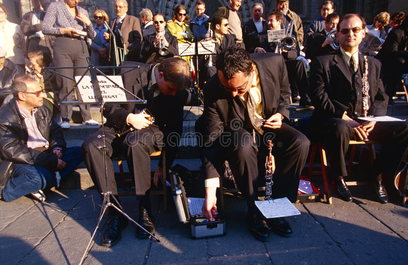 An orchestra outside the Cathedral Santa Eulalia. An orchestra performing outside the Cathedral of Santa Eulalia in Barcelona, Spain royalty free stock photography