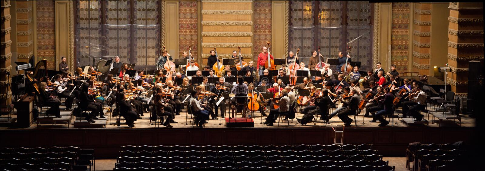 Symphony Orchestra Rehearsal Panorama Editorial Photography