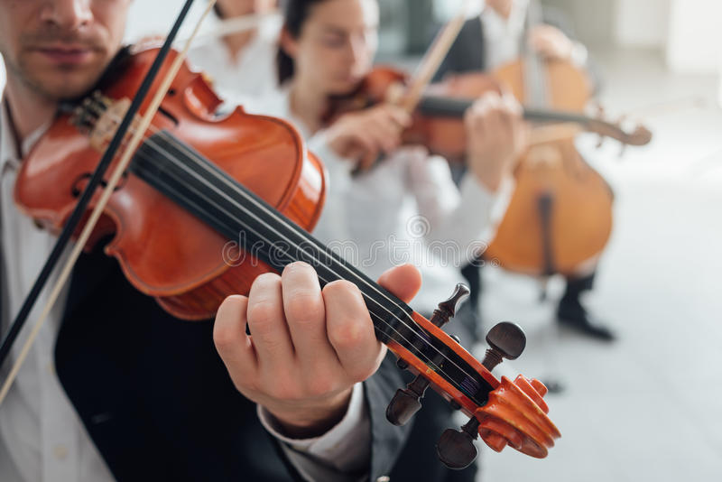 Orchestra string section performing royalty free stock photos