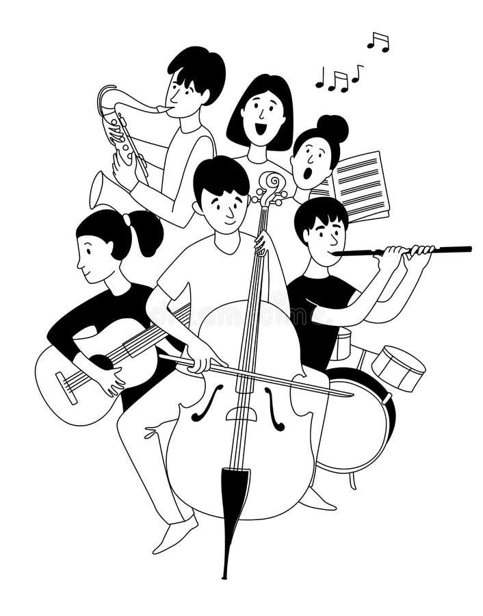 Orchestre D'orchestre De L'école De Musique Étudiants En Instruments De  Musique Pochette De La Ligne De Doodles Illustration de Vecteur -  Illustration du ligne, illustration: 165436885