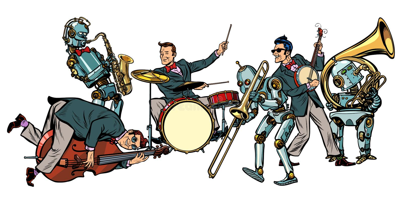 Orchestre futuriste de jazz des humains et des robots, d'isolement sur le petit morceau illustration libre de droits