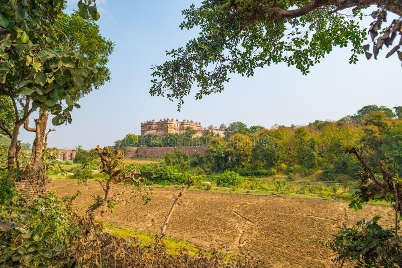 Orchha pałac, Madhya Pradesh Także przeliterowany Orcha, sławny podróży miejsce przeznaczenia w India zdjęcia royalty free