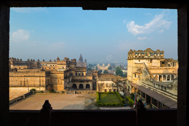 Orchha Palace, sunny day and blue sky, framed view, looking through window. Also spelled Orcha, famous travel destination in India royalty free stock photos