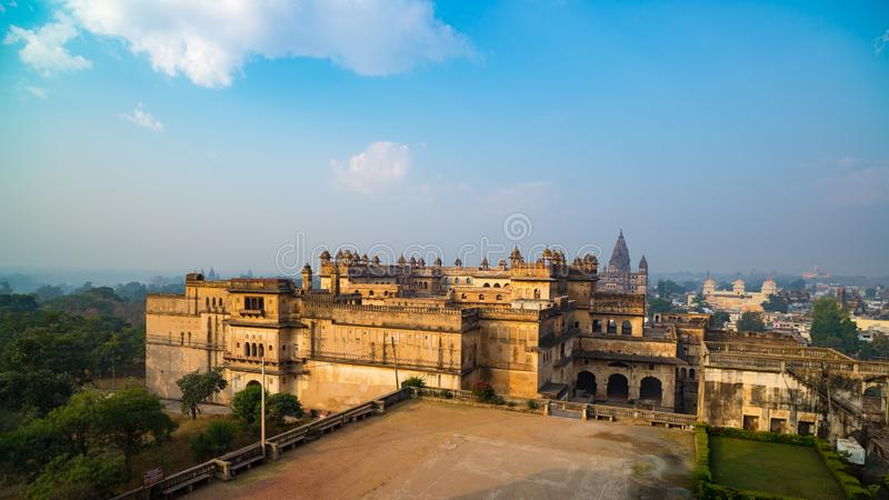 Orchha Palace, sunny day and blue sky, view from above. Also spelled Orcha, famous travel destination in India. royalty free stock image