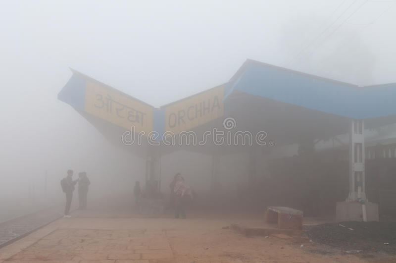 Orchha Railway station in thick morning fog. ORCHHA, INDIA - DEC 20, 2014: Orchha Railway station in thick morning fog, Orchha railway station is 5 km away from stock image