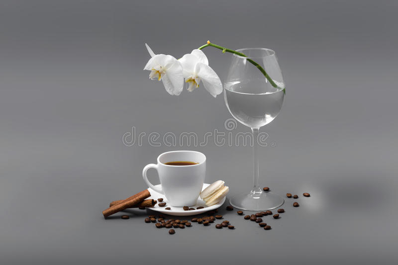 Orchidée blanche dans un verre et une tasse de café images libres de droits