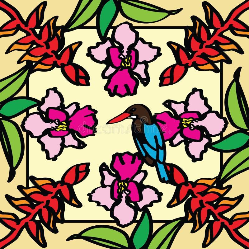 Orchidée, oiseau du paradis et martin-pêcheur photographie stock libre de droits