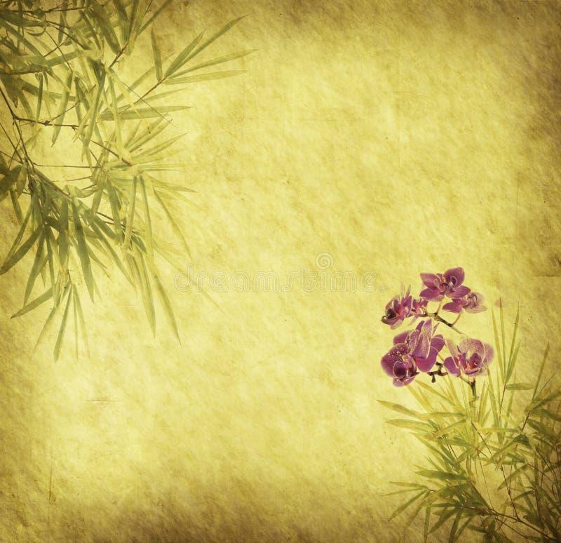 Orchidées avec les lames en bambou photo libre de droits