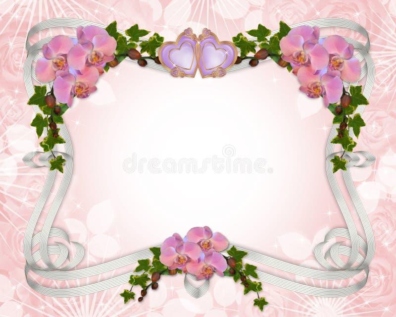 Orchidées et lierre de cadre d'invitation de mariage   illustration libre de droits