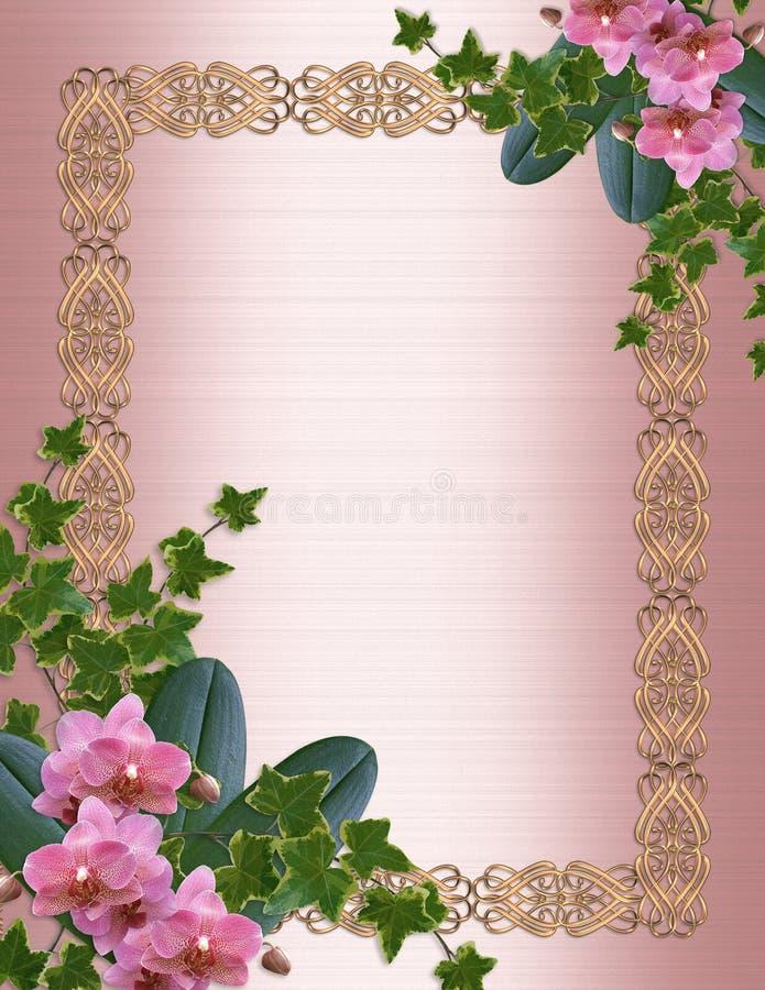 Orchidées et lierre de rose d'invitation de mariage   illustration libre de droits