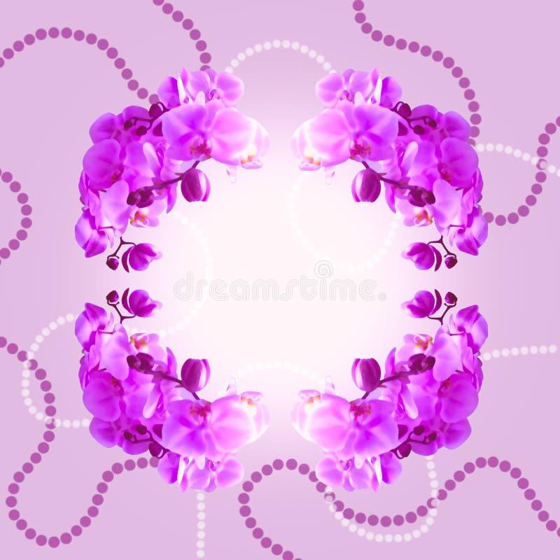 Orchidées et perles illustration de vecteur