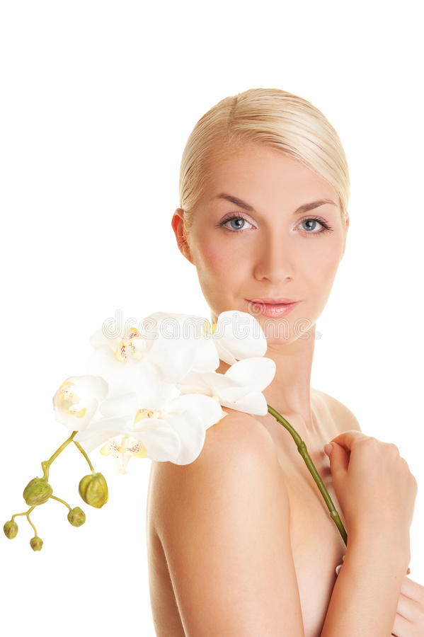 orchid λευκή γυναίκα στοκ φωτογραφία με δικαίωμα ελεύθερης χρήσης