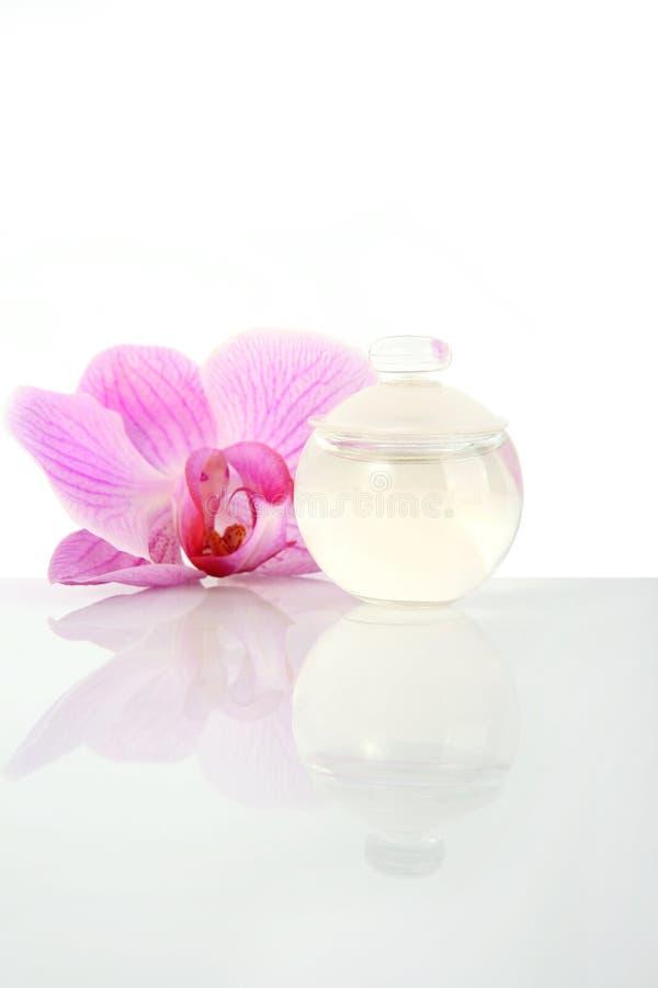 orchid λουλουδιών μπουκαλ&iot στοκ εικόνες
