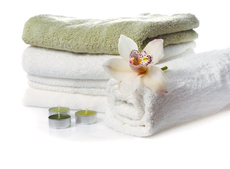 orchid λουλουδιών πετσέτες &si στοκ φωτογραφία με δικαίωμα ελεύθερης χρήσης