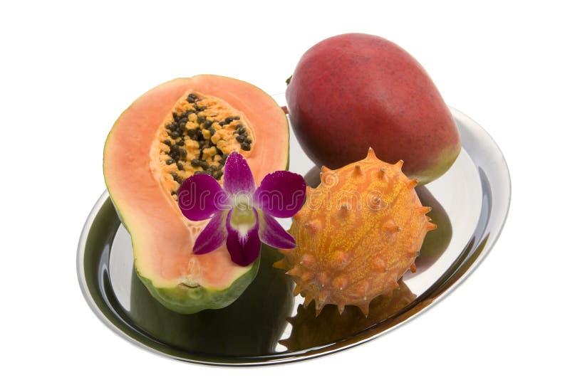 orchid μάγκο kiwano papaya στοκ εικόνες