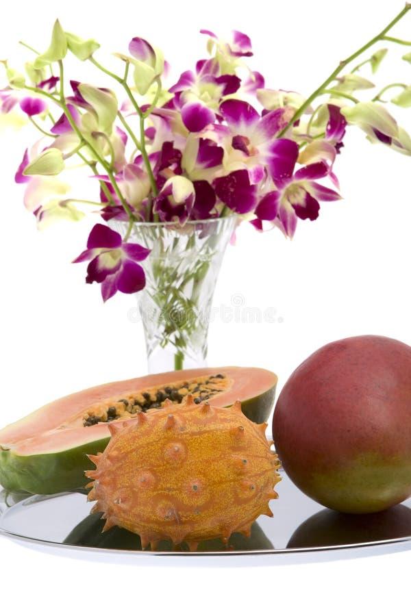orchid μάγκο kiwano papaya στοκ φωτογραφίες