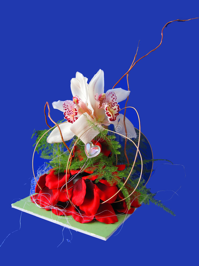 Orchid and Rose Petal Floral Arrangement royalty free stock photo