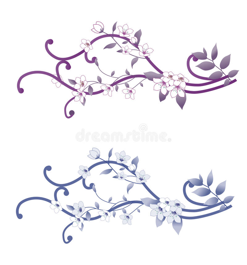 Orchid. Two group of orchid on white background royalty free illustration