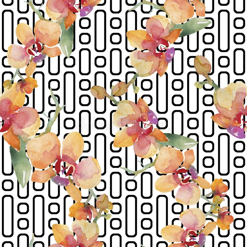 Orchid bouquets floral botanical flowers. Watercolor background illustration set. Seamless background pattern. Orchid bouquets botanical flowers. Wild spring royalty free illustration