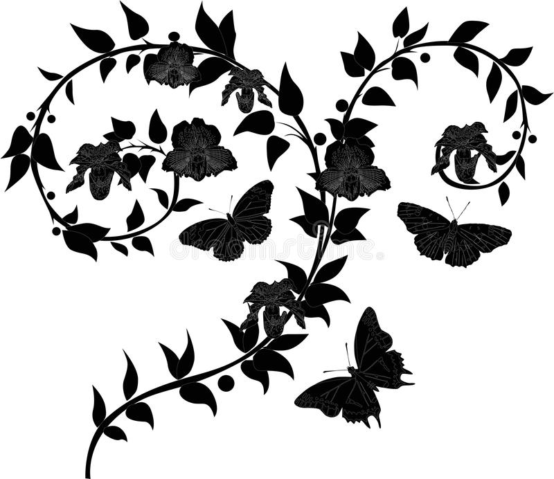 Orchid Branch And Butterfly Silhouettes Royalty Free Stock Photos