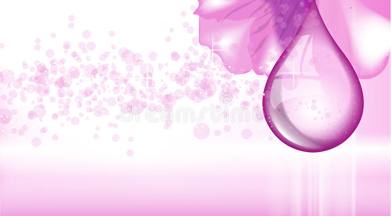 Orchid flower fragrance background. Ads template, droplet mock up on dazzling backdrop. Place for brand text stock illustration