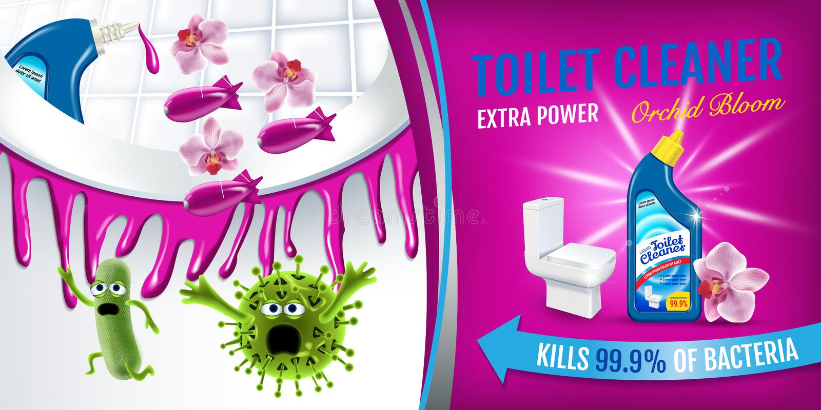 Orchid fragrance toilet cleaner ads. Cleaner bobs kill germs inside toilet bowl. Vector realistic illustration. Horizontal banner. stock illustration