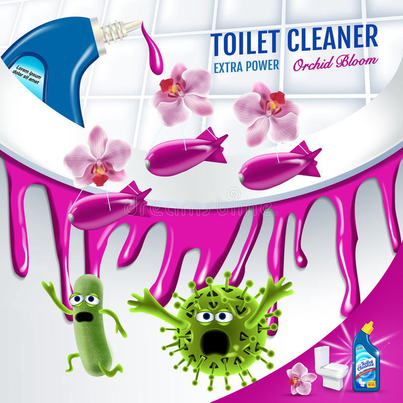 Orchid fragrance toilet cleaner ads. Cleaner bobs kill germs inside toilet bowl. Vector realistic illustration. vector illustration