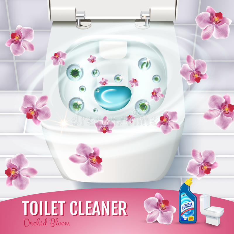 Orchid fragrance toilet cleaner gel ads. Vector realistic Illustration with top view of toilet bowl and disinfectant container royalty free illustration
