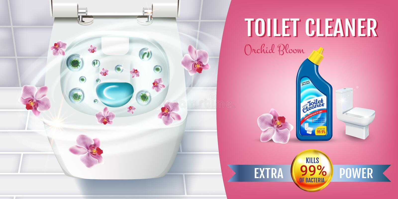 Orchid fragrance toilet cleaner gel ads. Vector realistic Illustration with top view of toilet bowl and disinfectant container. Ho. Orchid fragrance toilet royalty free illustration
