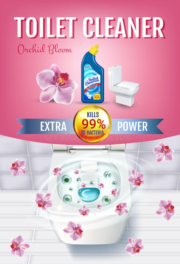 Orchid fragrance toilet cleaner gel ads. Vector realistic Illustration with top view of toilet bowl and disinfectant container. Ve stock illustration