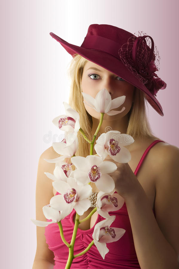 Download The Orchid And The Girl Stock Photo - Image: 10223640