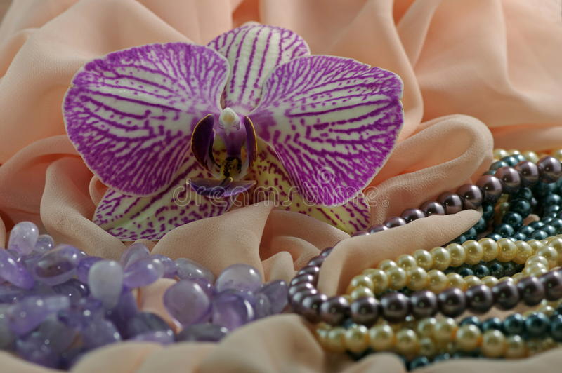 Orchid flower, jewelry and silk. Orchid flower and jewelry placed on silk stock photography