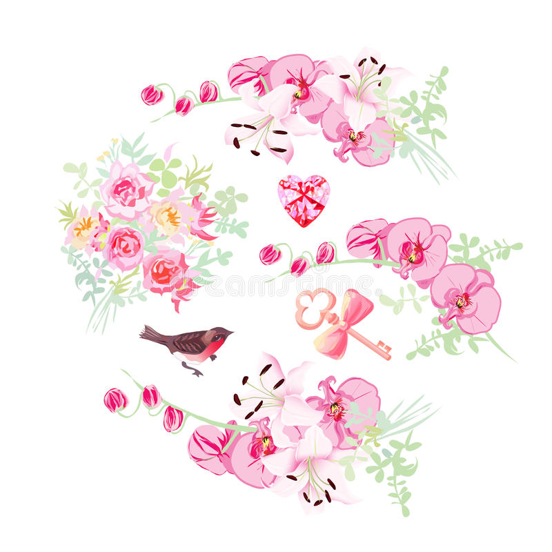Orchid, lily and rose bouquets vector design objects. Bullfinch, pink diamond, key with bow royalty free illustration